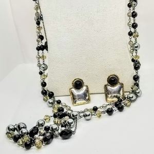 Long Vintage Multi-stranded with Beads, Pearls nec
